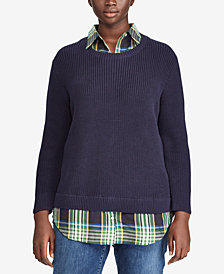 Lauren Ralph Lauren Plus Size Layered-Look Plaid Contrast Sweater