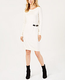 MICHAEL Michael Kors Buckle-Trim Sweater Dress