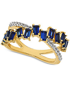 Lab-Created Sapphire (2 ct. t.w.) & White Sapphire (1/6 ct. t.w.) Crisscross Statement Ring in 14k Gold-Plated Sterling Silver