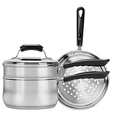 3qt Stainless Steel Covered Double Boiler and Steamer Set