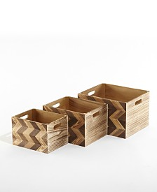 Urban Living Wooden Chevron Storage Crates, Set of 3