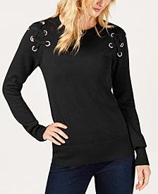 MICHAEL Michael Kors Lace-Up Sweater, In Regular & Petite Sizes