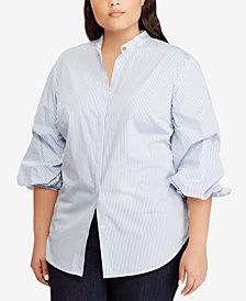 Lauren Ralph Lauren Plus Size Striped Cotton Shirt