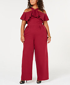 Rebdolls Ruffled Cold Shoulder Plus Size Jumpsuit from The Workshop at Macy's