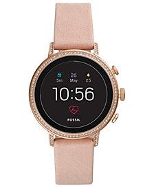 Fossil Q Women's Venture HR Blush Leather Strap Touchscreen Smart Watch 40mm