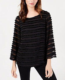 Alfani Striped Lantern-Sleeve Fringed Blouse, Created for Macy's