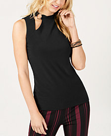 I.N.C. Sleeveless Cutout Mock-Neck Top, Created for Macy's