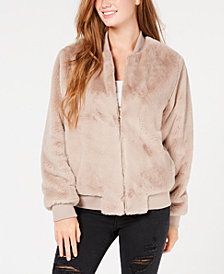 Say What? Juniors' Faux-Fur Bomber Jacket