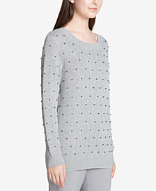 Calvin Klein Studded Diamond-Stitch Sweater