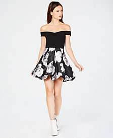 Speechless Juniors' Off-The-Shoulder Fit & Flare Bubble Hem Dress