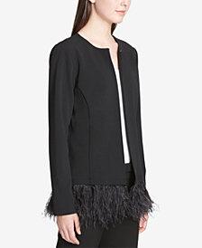 Calvin Klein Feather-Trim Jacket