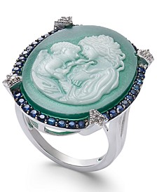 Green Agate, Sapphire (1/2 ct. t.w.) & Diamond Accent Mother & Child Cameo Ring in Sterling Silver