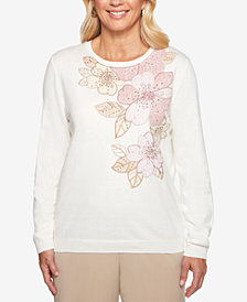 Alfred Dunner Petite Home for the Holidays Floral Appliqué Sweater