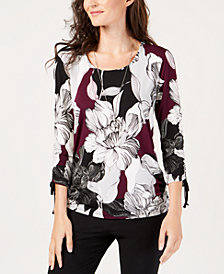 JM Collection Petite Ruched-Drawstring Necklace Top, Created for Macy's