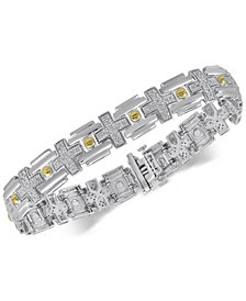 Men's Diamond Two-Tone Link Bracelet (1/2 ct. t.w.) in Sterling Silver & 14k Gold-Plate