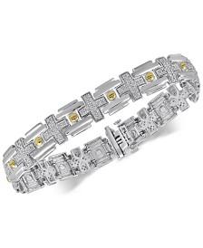 Men's Diamond Two-Tone Link Bracelet (1/2 ct. t.w.) in Sterling Silver & 14k Gold-Plate