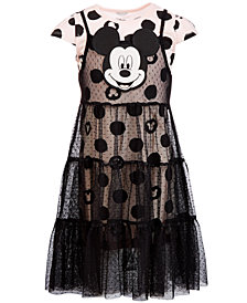 Disney Little Girls 2-Pc. Mickey Face Dot-Print Overlay Dress