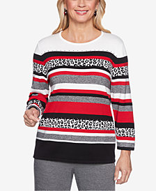 Alfred Dunner Petite Animal-Print Striped Sweater