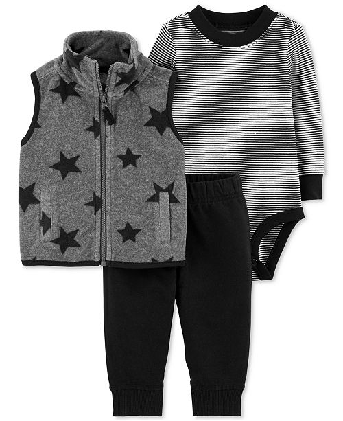 a6ab11680 Carter s Baby Boys 3-Pc. Fleece Vest