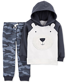 Carter's Baby Boys 2-Pc. Bear Hoodie & Camo-Print Jogger Pants Set