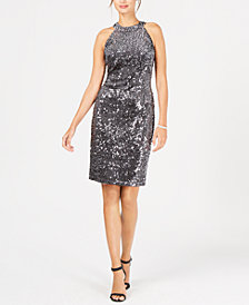 Nightway Petite Velvet Sequined Sheath Dress