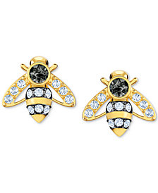 Swarovski Gold-Tone Crystal Bee Stud Earrings