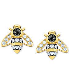 Swarovski Gold-Tone Crystal Bee Stud Earrings
