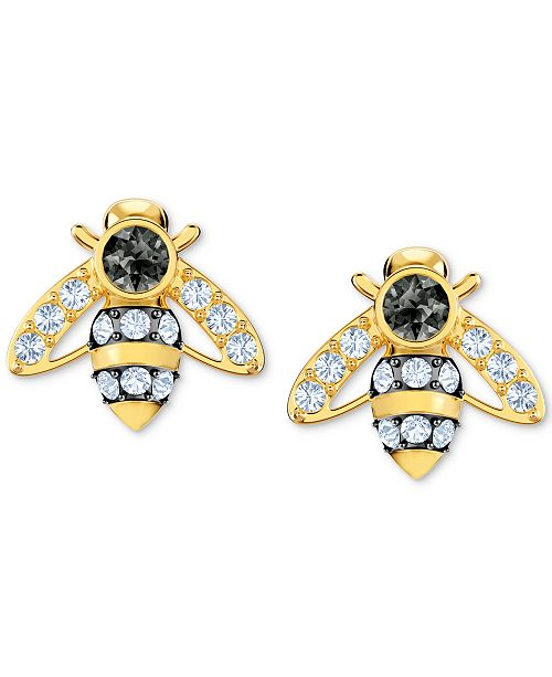 ce0300537 Swarovski Gold-Tone Crystal Bee Stud Earrings & Reviews - Fashion ...