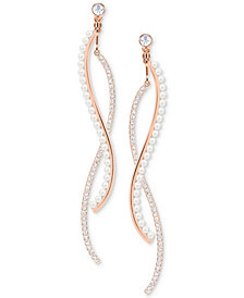 Swarovski Rose Gold-Tone Crystal & Imitation Pearl Wavy Bar Jacket Earrings