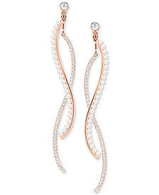 Swarovski Rose Gold-Tone Crystal & Imitation Pearl Wavy Bar Jacket Earrings