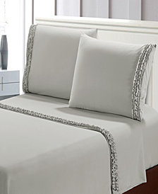 Bella Shabby Chic Easy Care Ruffled 4pcs Microfiber Bed Sheet Set