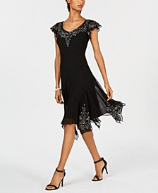 Embellished Handkerchief-Hem Dress
