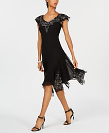 J Kara Embellished Handkerchief-Hem Dress