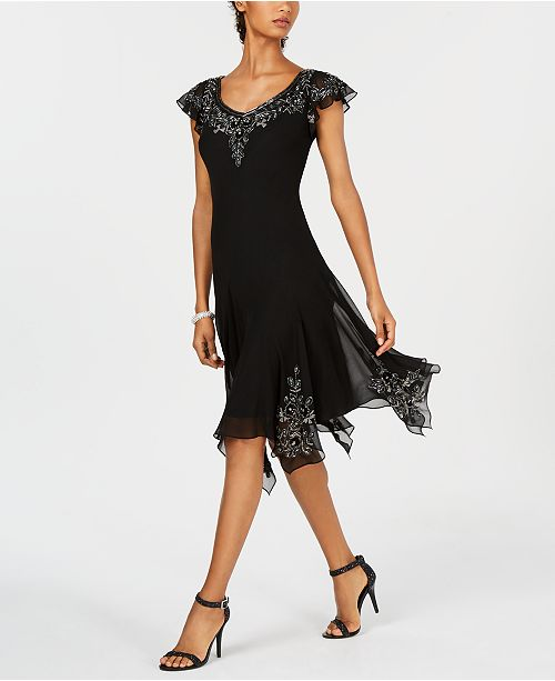 J Kara Embellished Handkerchief-Hem Dress
