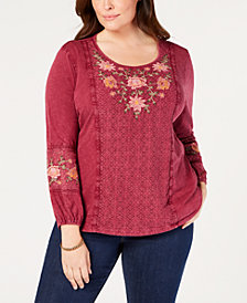 Style & Co Plus Size Embroidered Crochet-Trim Top, Created for Macy's