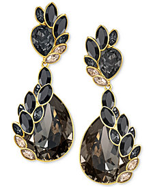 Swarovski Gold-Tone Crystal & Stone Owl Drop Earrings