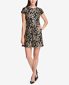 kensie Sequined Scroll T-Shirt Dress