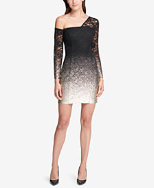 GUESS One-Shoulder Lace Bodycon Dress