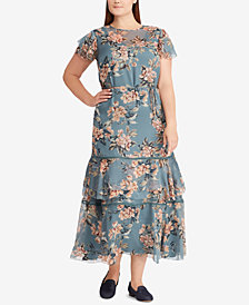 Lauren Ralph Lauren Plus Size Fit & Flare Floral-Print Dress