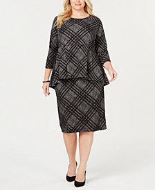 Alfani Plus Size Peplum Top & Straight Skirt, Created for Macy's
