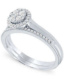 Diamond Halo Cluster Bridal Set (1/3 ct. t.w.) in 14k White Gold