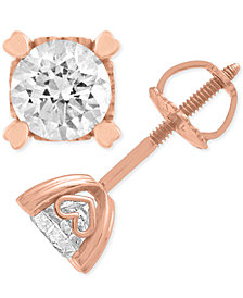 Diamond Stud Earrings in Heart Shape Prongs ( 1 ct. t.w.) in 14k Rose Gold