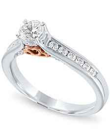 Diamond Two-Tone Halo Engagement Ring (1/2 ct. t.w.) in 14k Rose and White Gold