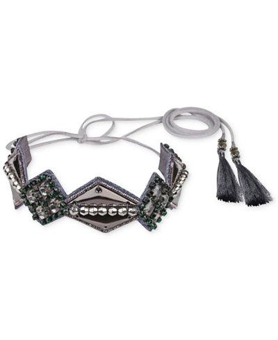 Deepa Gunmetal-Tone Crystal, Bead & Tassel Hair Tie Wrap