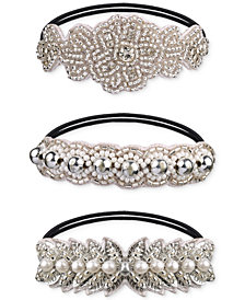 Deepa Silver-Tone 3-Pc. Set Crystal, Imitation Pearl & Bead Ponytail Holders