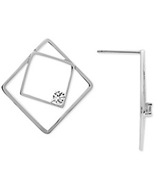 Cubic Zirconia Small Double Square Stud Earrings in Fine Silver-Plate