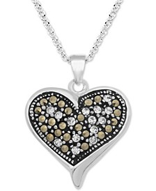 """Marcasite & Crystal Heart 18"""" Pendant Necklace in Fine Silver-Plate"""