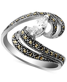 Cubic Zirconia & Marcasite Swirl Ring in Fine Silver-Plate