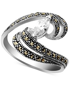 Cubic Zirconia & Marcasite Swirl Ring in Fine Silver-Plate
