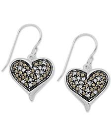 Marcasite & Crystal Filigree Heart Drop Earrings in Fine Silver Plate